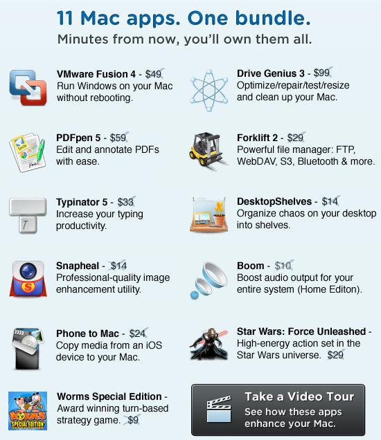 mumpromo mac bunlde 11 mac apps vmware fusion pdfpen drive genius forklift typinator desktopshelves snapheal boom phone to mac star wars force unleashed worms special edition bundle
