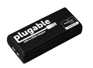 pluggable hat einen sehr nützlichen Adapter entwickelt: über USB 3.0 können DVI und HDMI Monitore angeschlossen werden.